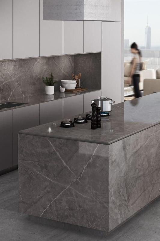 Group 3 Xgloss Stonika Collection Korso Standard Size 57x126, 12 mm, Polished, Gray, Porcelain, Slab