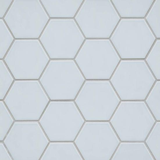 Hedron Sky Blue Glossy 4x5 Ceramic  Tile