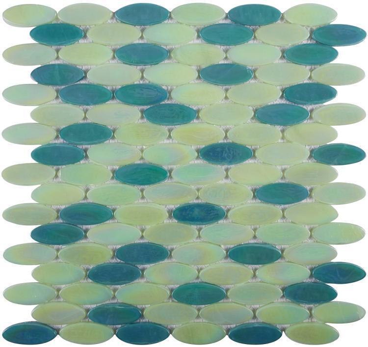 Laguna Green Circular  Glass  Mosaic
