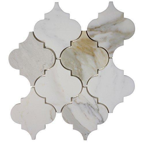 Marble Calacatta Gold 4 in Lanterna Honed   Mosaic