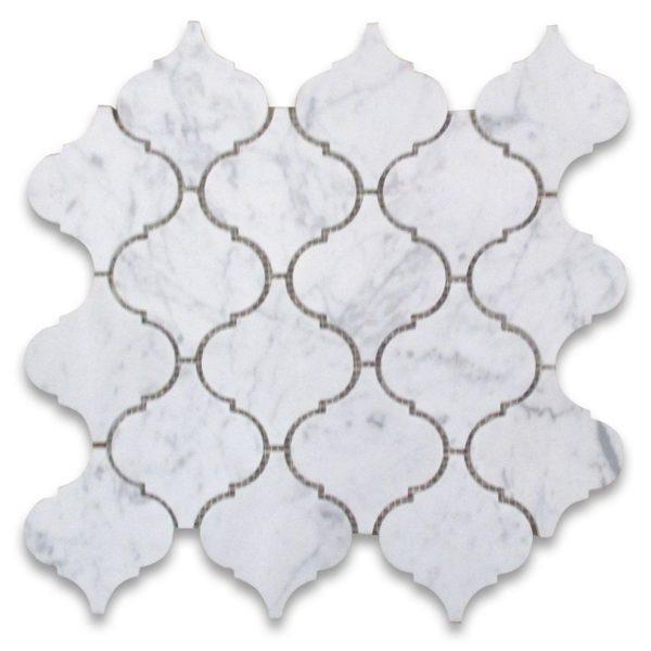 Marble White Carrara 4 in Lanterna Honed   Mosaic