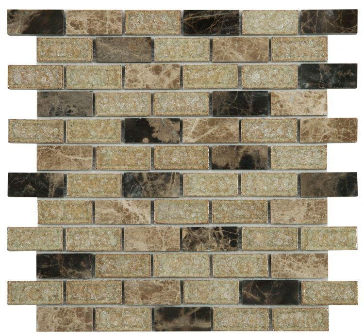 Jewel Cappuccino 1x2 Brick  Glass  Mosaic