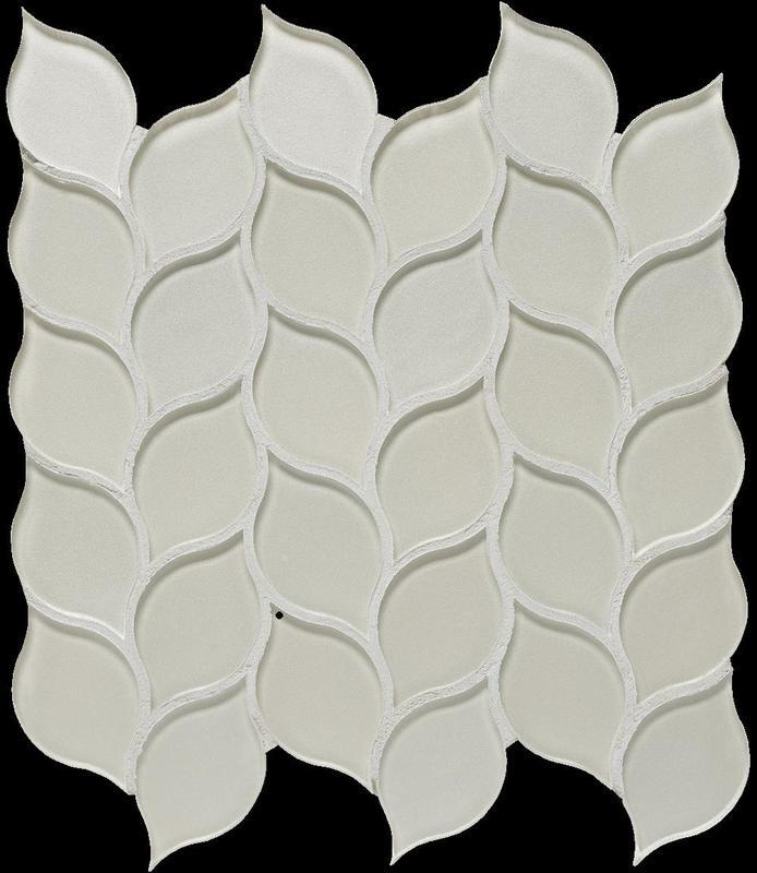 Dunes Ivory Glass, Leaf, Mosaic