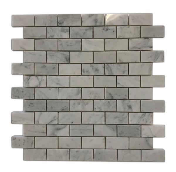 Marble Carrara White Brick 1x2 Polished   Mosaic