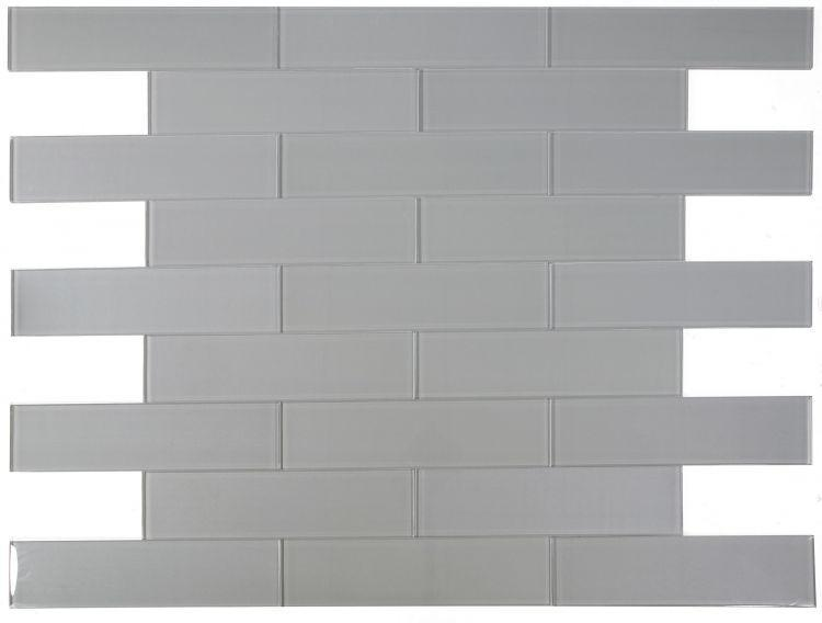 Large Glass Tile Lucy Silver Subway Glossy   Mosaic