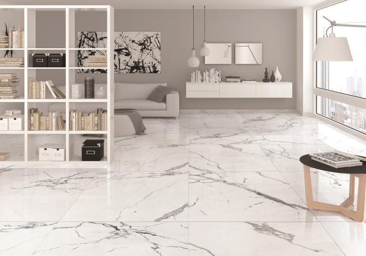 Carrara Premium Polished, Glazed 24x24 Porcelain  Tile
