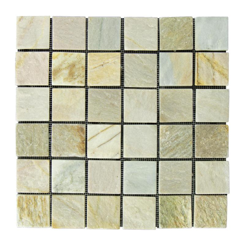Slate Quartzite Sandstone Desert Gold Golden Ray 2x2 Square Tumbled   Mosaic (Discontinued)