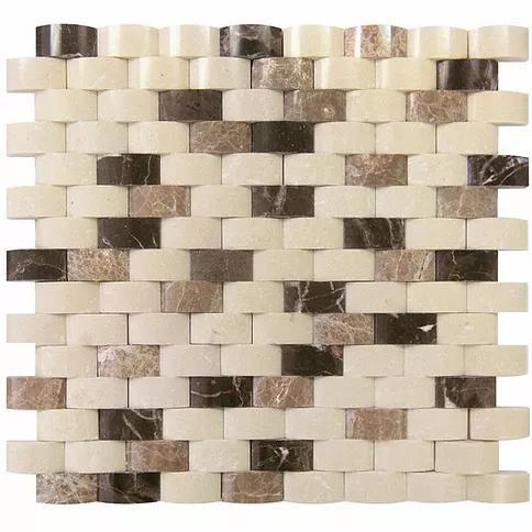 Stone Mosaic Emperador Dark Light Crama Marfil Brick Polished Marble