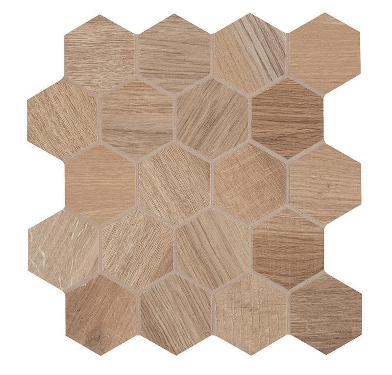 Aequa Silva 2.5 in, Standard, Hexagon, Color-Body-Porcelain, Mosaic