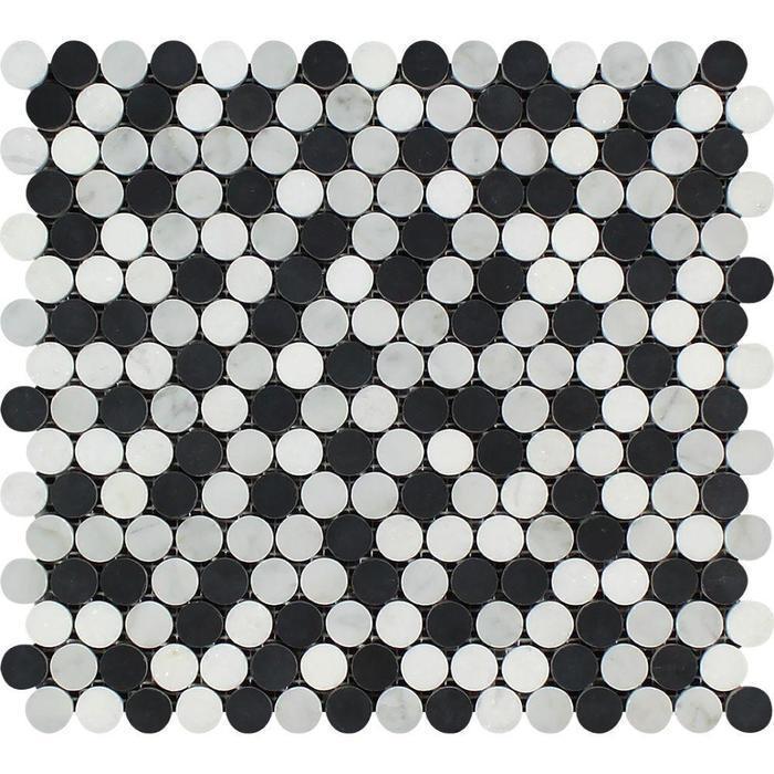 Marble Thassos White W Black Pennyround Polished   Mosaic