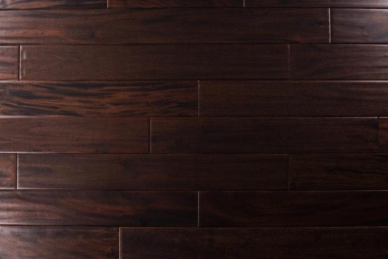 Indo Mahogany Dark Ebony 4.75xfree length, Hand-Scraped, Brown, Solid-Hardwood, Wood