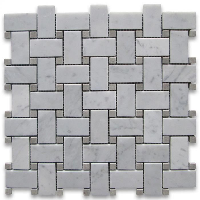 Carrara White 1x2 Basketweave W/ Gray Dots Polished Marble  Mosaic
