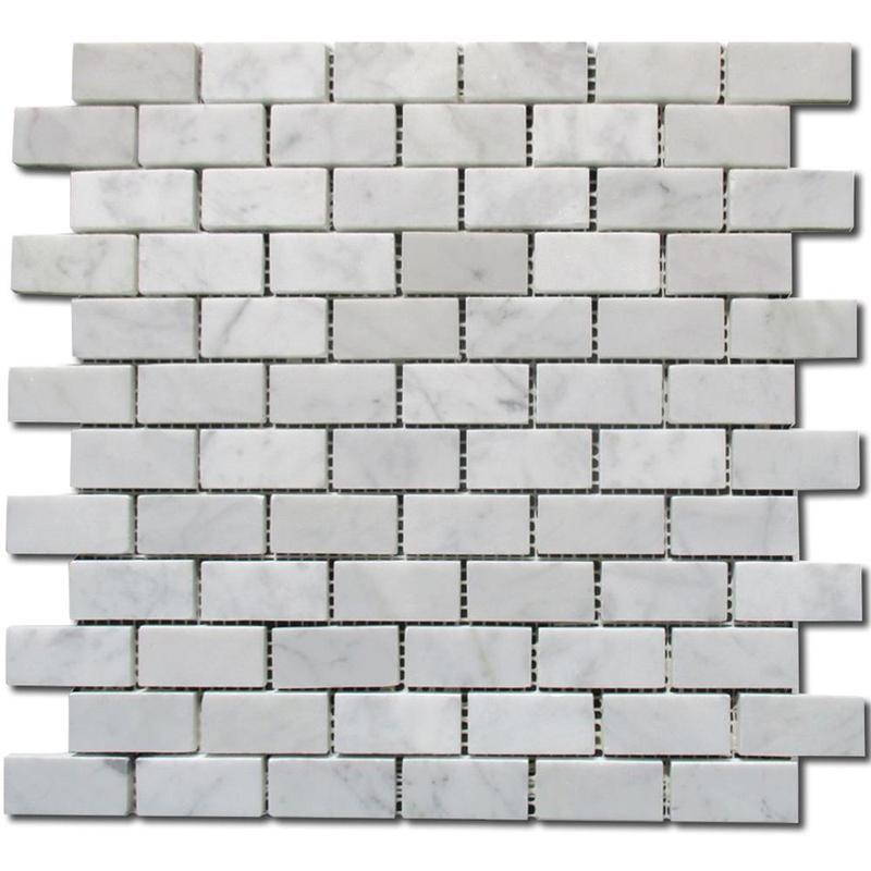 Carrara White 1x2 Brick Polished Marble  Mosaic