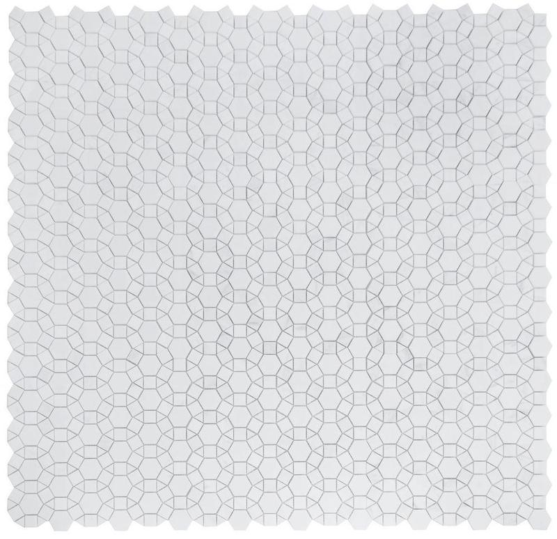 Aether Pure White Circular Polished Marble  Mosaic