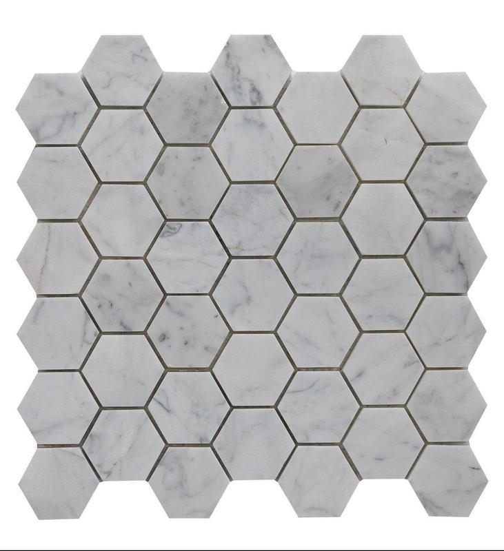 Marble Carrara White Hexagon 2x2 Honed   Mosaic