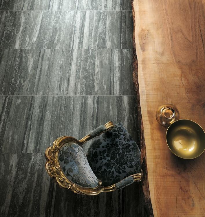 I Travertini Black Matte 24x48 Porcelain  Tile