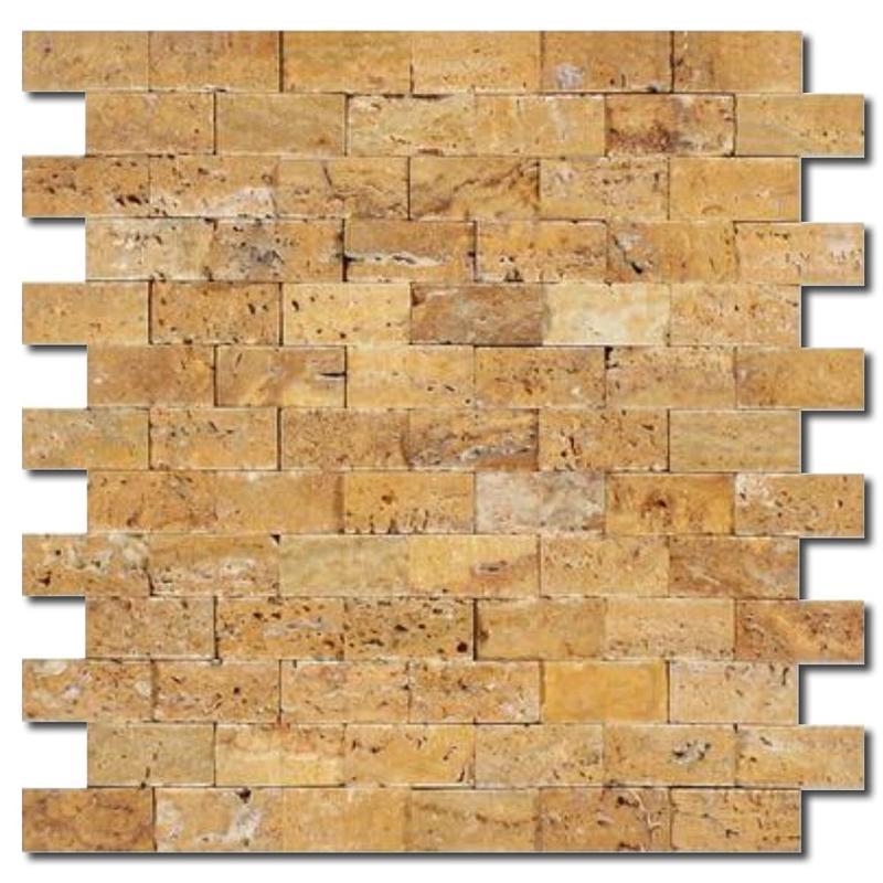 Golden Sienna 1x2 Brick Split-Face Travertine  Mosaic