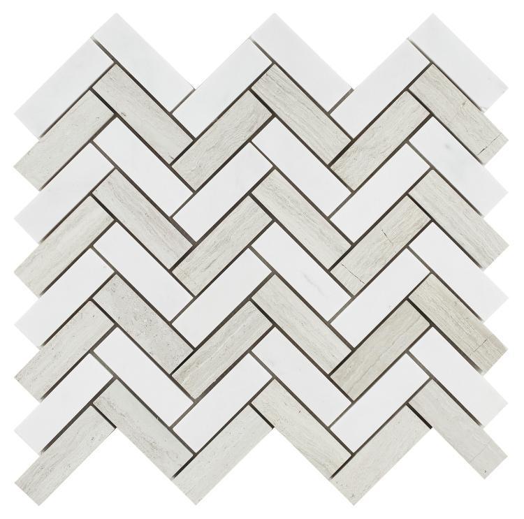 Chevron Herringbone Haisa Polished Marble  Mosaic