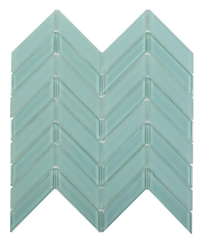 Chevron Aqua Blue 1x4  Glossy Glass  Mosaic