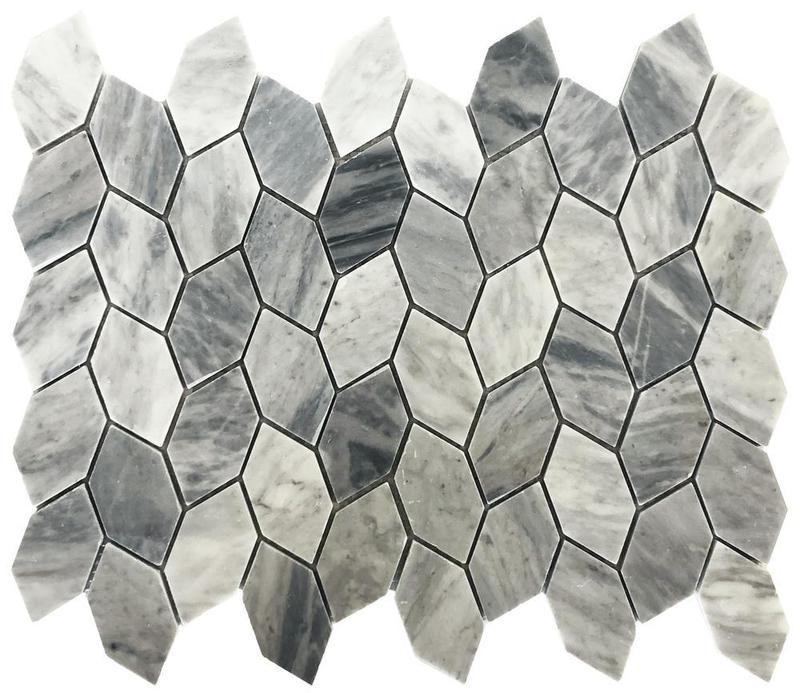 Stone Vine Grey Elongated Hexagon Honed Natural Stone  Mosaic