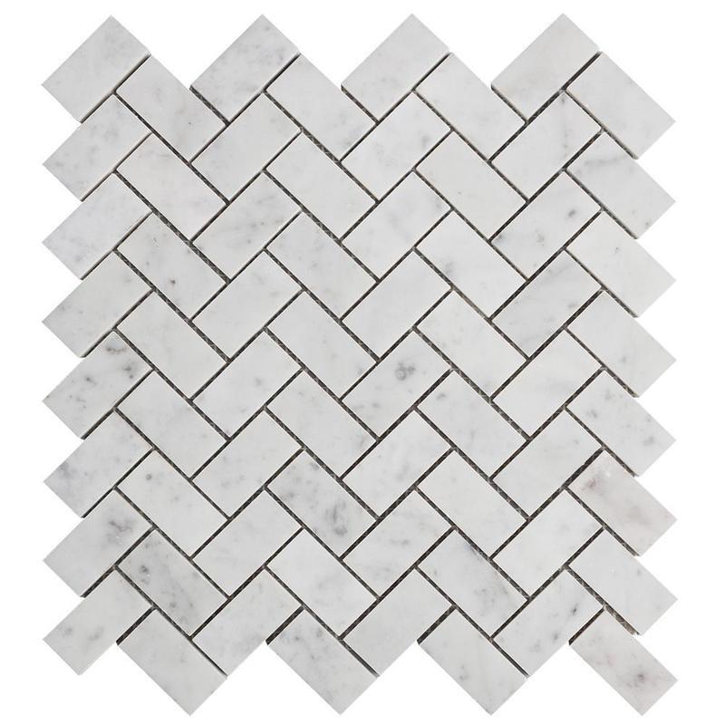 Carrara White 1x2 Herringbone Honed Marble  Mosaic
