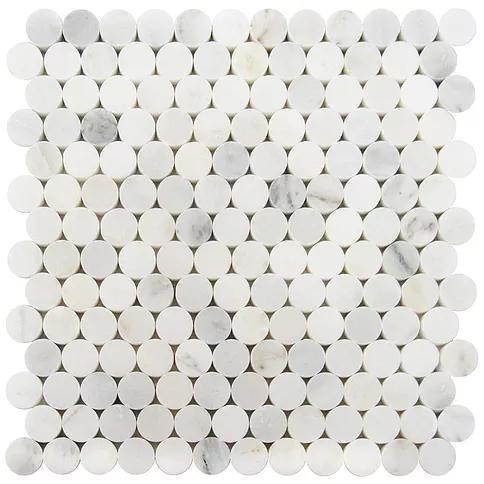 Waterjet Stone Mosaic Oriental White 1 in Pennyround Honed Marble