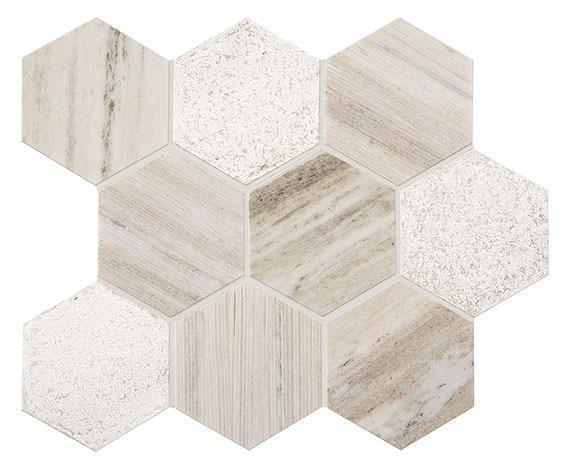 Ascend Stone Open Horizon 4 in, Textured, Hexagon, Natural-Stone, Mosaic