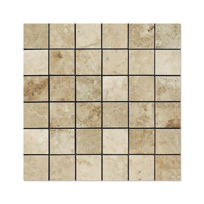 Marble Crema Cappuccino 2x2 Square Polished   Mosaic (Discontinued)