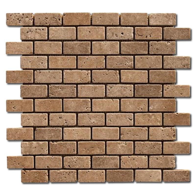 Noce 1x2 Brick Tumbled Travertine  Mosaic