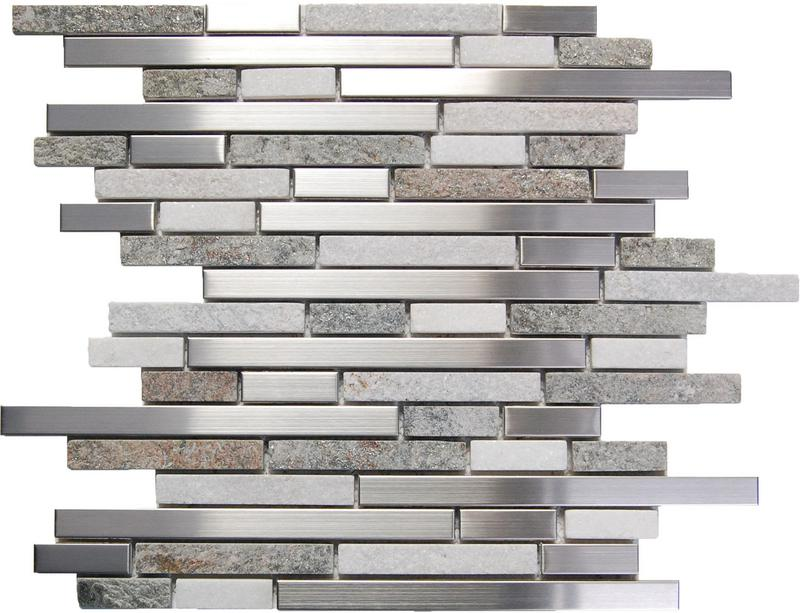 Stainless Steel Mosaics Cygnus Hb Ygt007-6 White Stone Mix Linear Polished   Mosaic (Discontinued)
