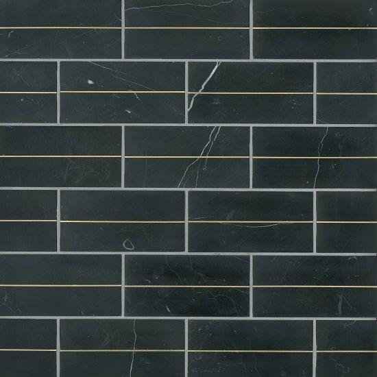 Decorative Nero Natural Stone Tile 3x6 Honed   0.38 in