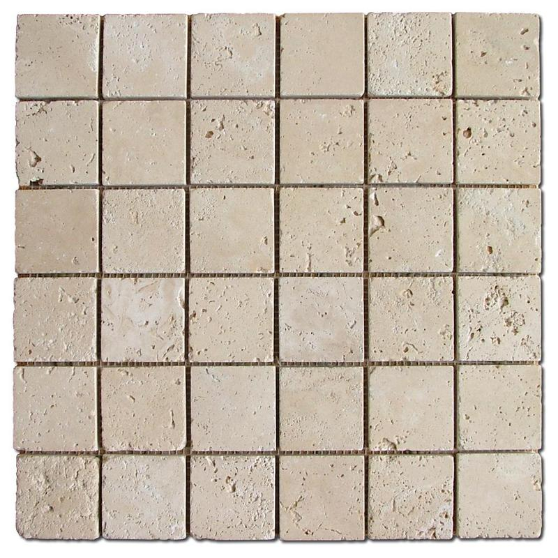 Travertine Collection Ivory 2x2 Square Tumbled   Mosaic