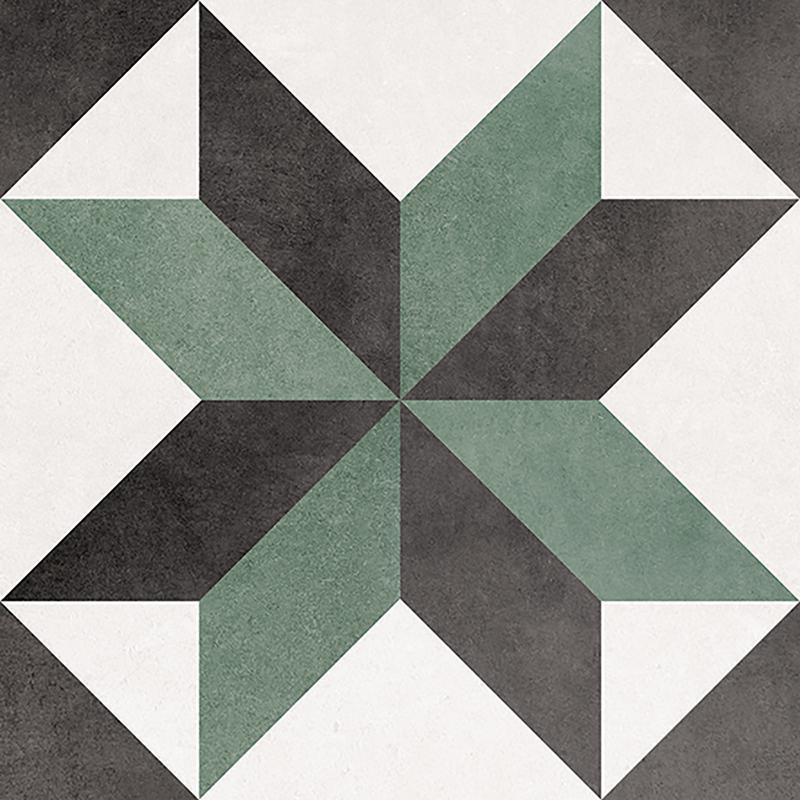 Floriane Celin 6x6, Glazed, Black, Green, White, Square, Porcelain, Tile