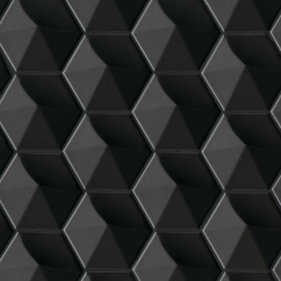Hedron Black 4x5, Matte, Hexagon, Ceramic, Tile
