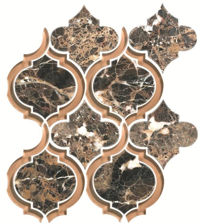 Alice Dark Emperador Arabesque Glass   Mosaic