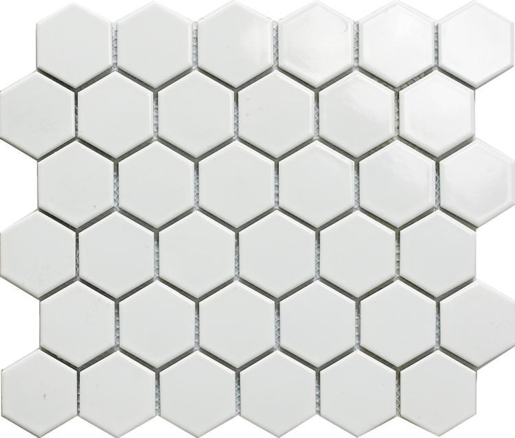 White2 2x2 Hexagon Polished Porcelain  Mosaic