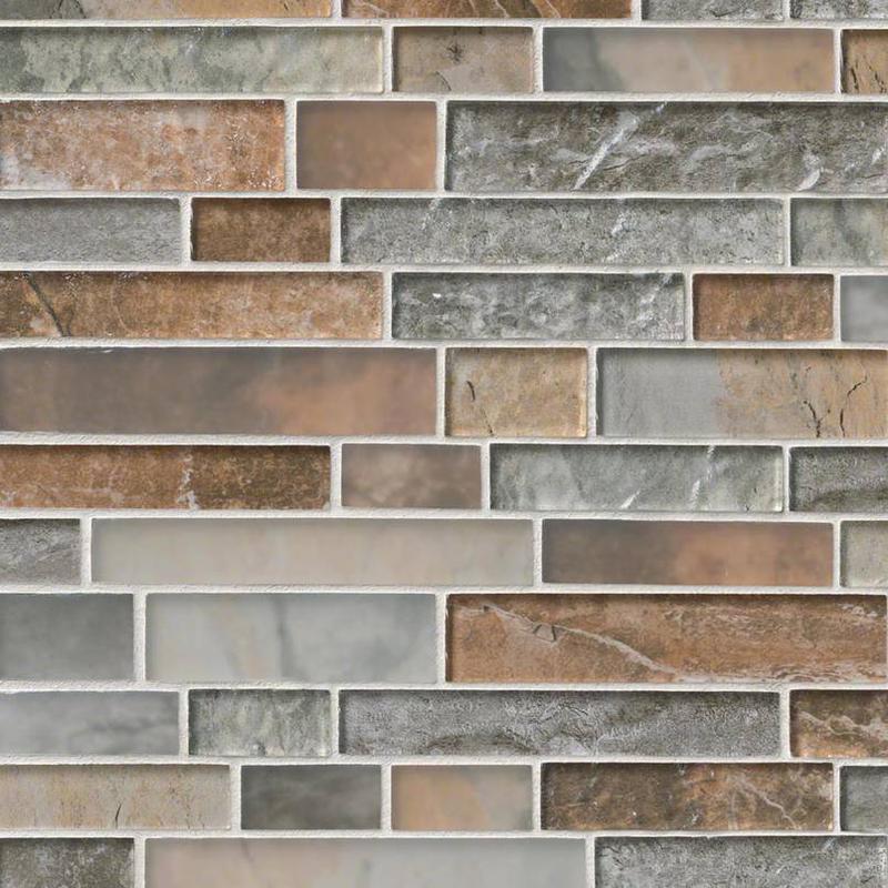 Backsplash Wall Tile Decorative Mosaics Taos Glass, Multi-Color, Interlocking, Mosaic