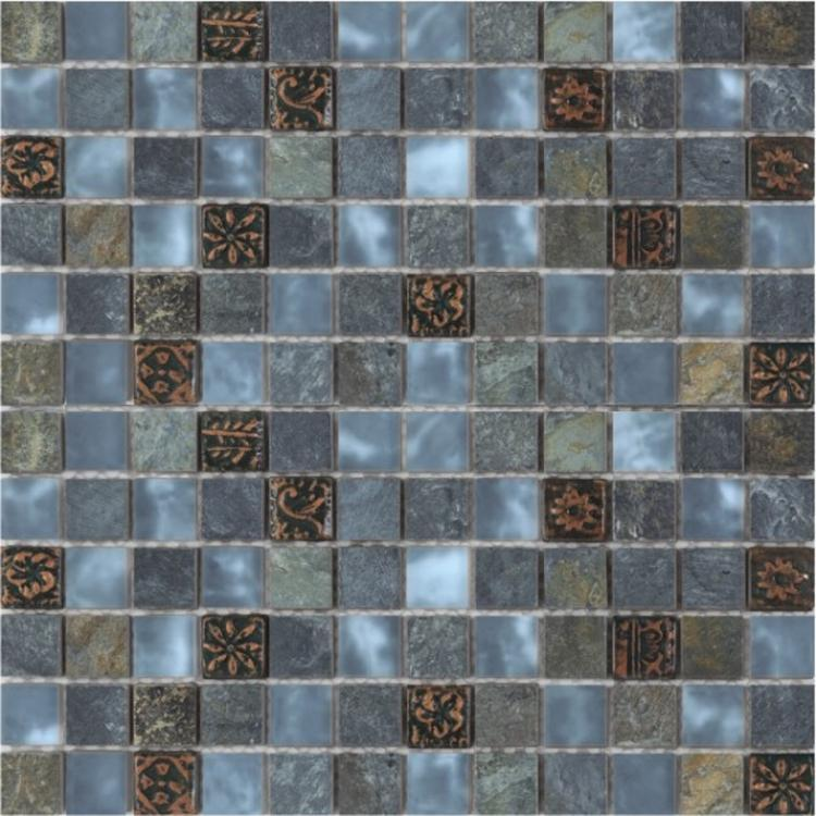 Milano Aries Slate 1x1 Square  Glass  Mosaic
