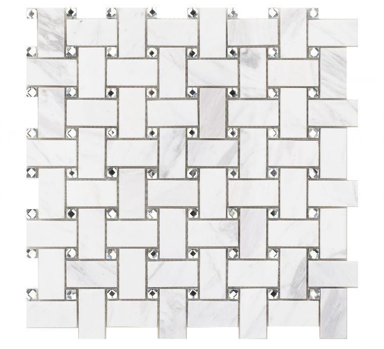 Precious Stone Cross White 1x2 Windmill  Glass  Mosaic