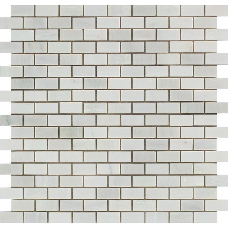 Marble Oriental White 0.63x1.25 Brick Polished   Mosaic