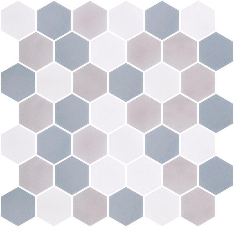 Onix From Spain Stoneblend Xl Sky Hexagon Matte Glass  Mosaic