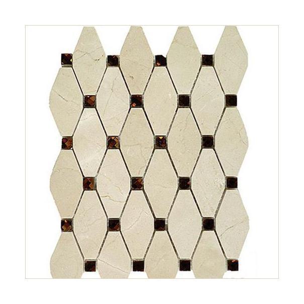Marble Crema Marfil Elongated Octagon W Emp Dark Dots Octagon With Dot Polished   Mosaic