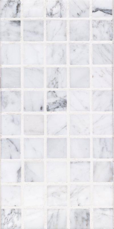 Sto Re Carrara 1-1/8x1-1/8 Square Polished Natural Stone  Mosaic
