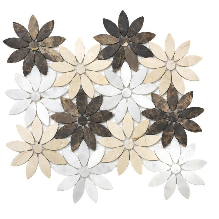Daisy Emperador Flower  Marble  Mosaic