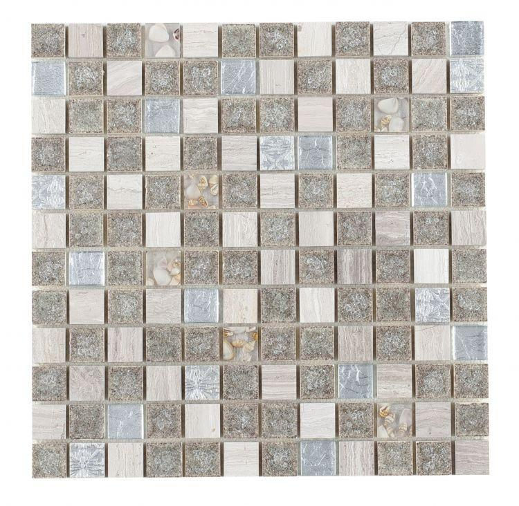 Jewel Swiss Grey 1x1 Square  Glass  Mosaic