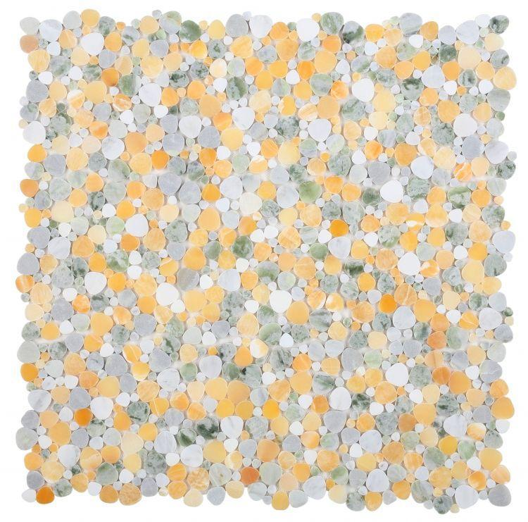 Aphrodite Spring Pebble Polished Marble  Mosaic