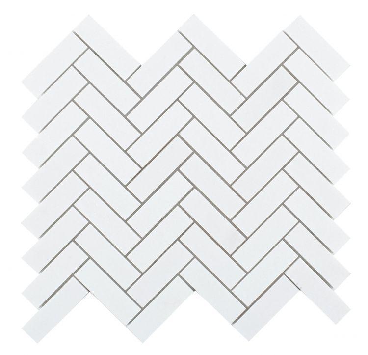 Chevron Herringbone Long Thassos Honed Marble  Mosaic