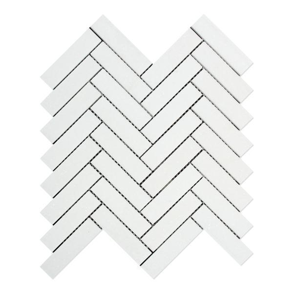 Marble Thassos White 1x4 Herringbone Polished   Mosaic