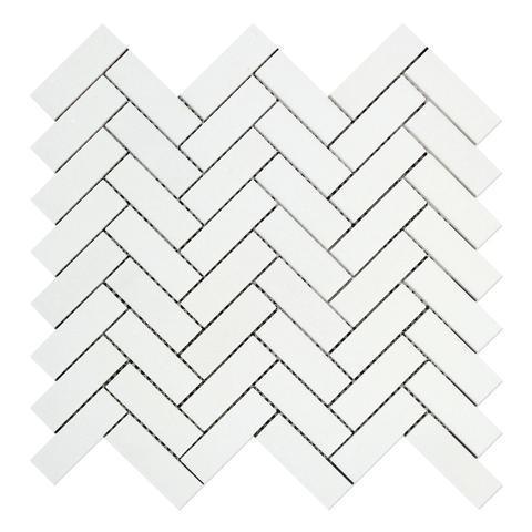 Marble Thassos White 1x3 Herringbone Polished   Mosaic