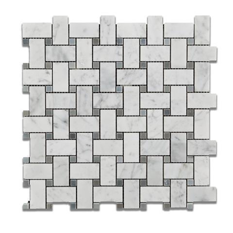 Carrara White 1x2 Basketweave W/ Gray Dots Honed Marble  Mosaic